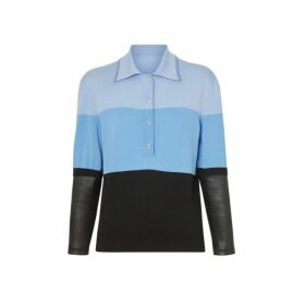 Burberry Long-sleeve Lambskin Detail Wool Polo Shirt
