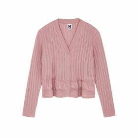 M Missoni Pink Ribbed Wool-blend Cardigan