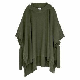 Rosetta Getty Army Green Hooded Wool-blend Poncho