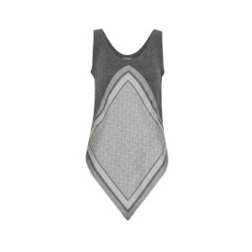 Burberry Monogram Print Scarf Detail Wool Vest