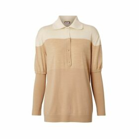 Burberry Long-sleeve Two-tone Wool Polo Shirt