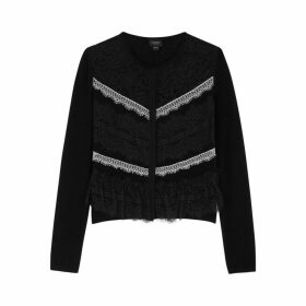 Giambattista Valli Black Lace And Wool-blend Cardigan
