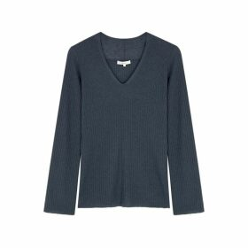 Vince Navy Wool And Cashmere-blend Jumper