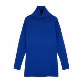 Victoria, Victoria Beckham Blue Chevron-knit Wool-blend Jumper