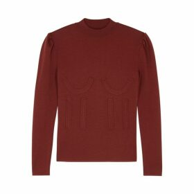 PushBUTTON Burgundy Wool-blend Jumper