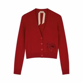 No.21 Red Sequin-embellished Cashmere Cardigan