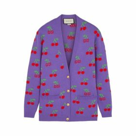 Gucci GG Cherry-intarsia Wool Cardigan