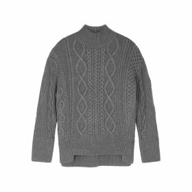Proenza Schouler Grey Cable-knit Wool Jumper