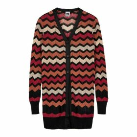 M Missoni Terracotta Zigzag-knit Cardigan