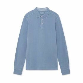 Hackett Garment-dyed Cotton Long-sleeved Polo Shirt