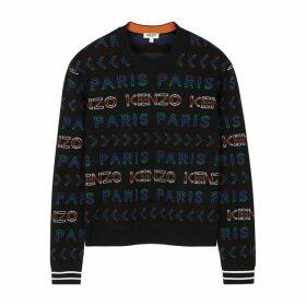 Kenzo Black Logo-intarsia Wool-blend Jumper