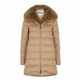 Herno Camel Quilted Silk-blend Coat