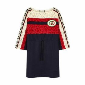 Gucci Navy Lace Detail Jersey Dress