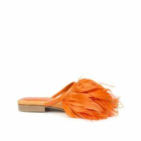 Nora Aÿtch Farah Orange Feather Slippers