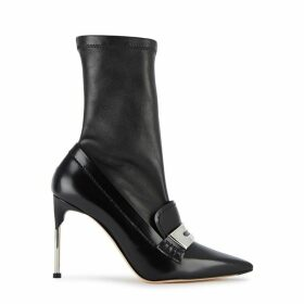 Alexander McQueen 100 Moccasin Black Leather Ankle Boots