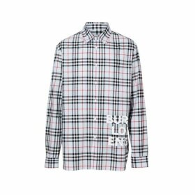Burberry Logo Print Check Cotton Oversized Shirt