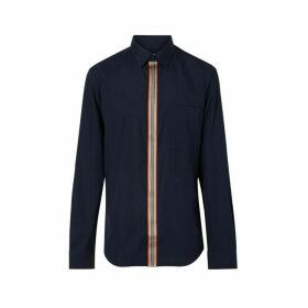 Burberry Icon Stripe Detail Stretch Cotton Poplin Shirt
