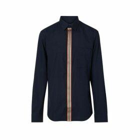 Burberry Icon Stripe Detail Stretch Cotton Poplin Shirt