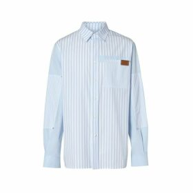 Burberry Logo Detail Patchwork Striped Cotton Shirt
