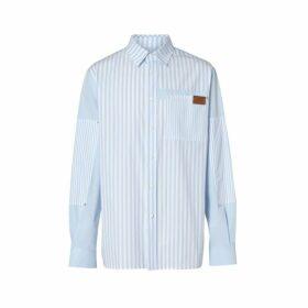 Burberry Logo Detail Patchwork Striped Cotton Shirt