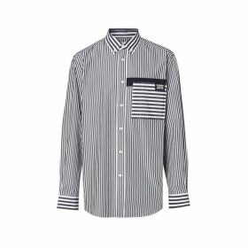 Burberry Logo Detail Contrast Stripe Cotton Shirt
