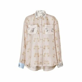 Burberry Contrast Unicorn Print Silk Twill Shirt