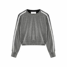 No Ka 'Oi Defiant Striped Metallic-weave Sweatshirt