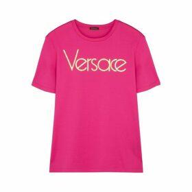 Versace Fuchsia Logo-print Cotton T-shirt
