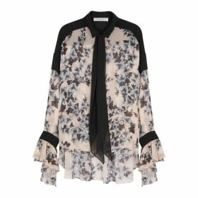 Philosophy Di Lorenzo Serafini Blush Leaf-print Georgette Blouse