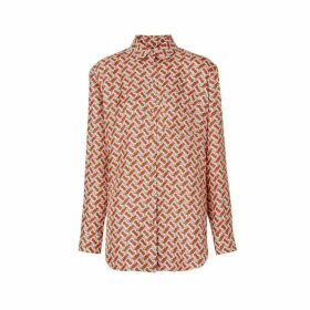 Burberry Monogram Print Silk Oversized Shirt