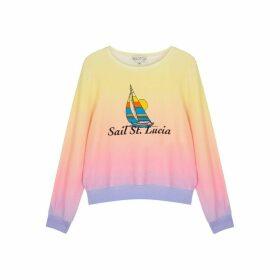Wildfox Sail St. Lucia Printed Jersey Sweatshirt