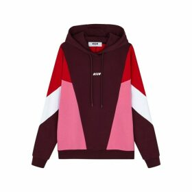 MSGM Colour-block Hooded Cotton Sweatshirt