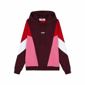 MSGM Colour-block Hooded Cotton Sweatshirt