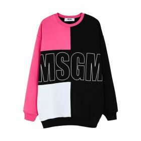 MSGM Panelled Logo-printed Cotton Jumper
