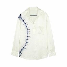 RAQUEL ALLEGRA White Tie-dye Satin Blouse
