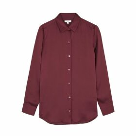 Equipment Essential Burgundy Satin Shirt