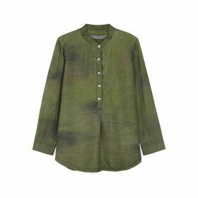 RAQUEL ALLEGRA Olive Tie-dye Silk Shirt