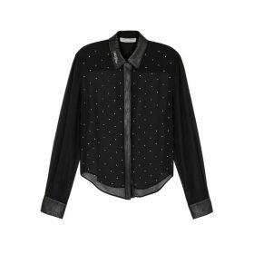 Philosophy Di Lorenzo Serafini Black Crystal-embellished Chiffon Shirt
