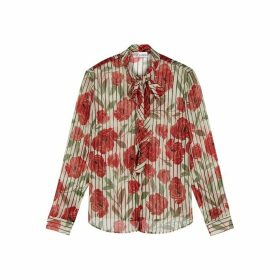 RED Valentino Floral-print Silk Chiffon Blouse