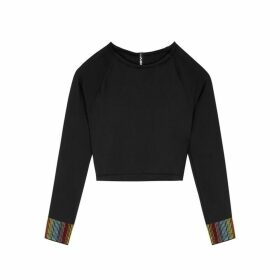 Adam Selman Sport Crystal-embellished Cropped Stretch-jersey Top
