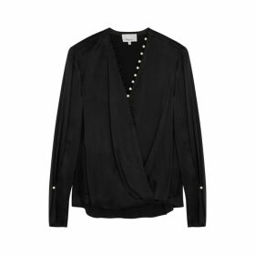 3.1 Phillip Lim Black Faux Pearl-embellished Satin Blouse