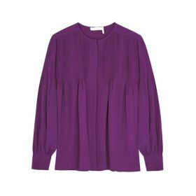 Chloé Magenta Pintucked Silk Crepe De Chine Blouse