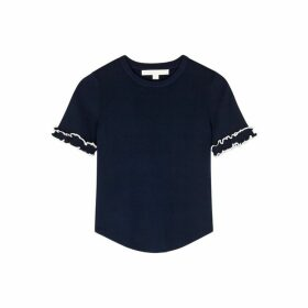 Jonathan Simkhai Navy Ruffled Stretch-jersey Top