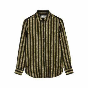 Saint Laurent Gold Striped Silk-blend Shirt