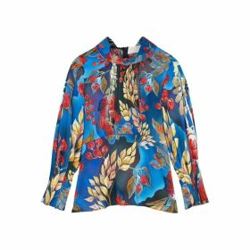 Peter Pilotto Floral-print Hammered Silk Blouse