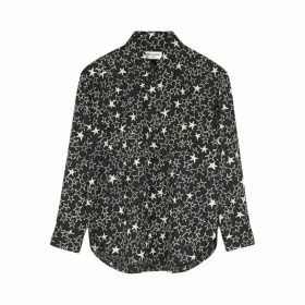 Saint Laurent Monochrome Star-print Silk Shirt