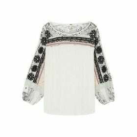 Free People Tripoli Appliquéd Jersey Top