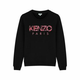 Kenzo Black Logo-appliquéd Cotton Sweatshirt