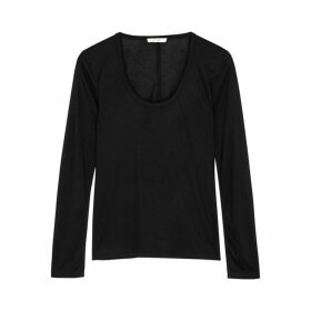 THE ROW Baxerton Black Stretch-jersey Top