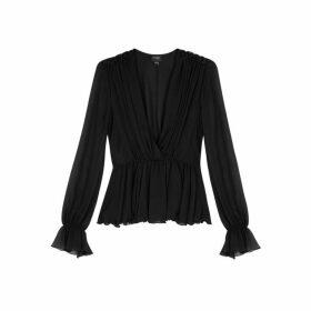 Giambattista Valli Black Ruffle-trimmed Silk Chiffon Blouse